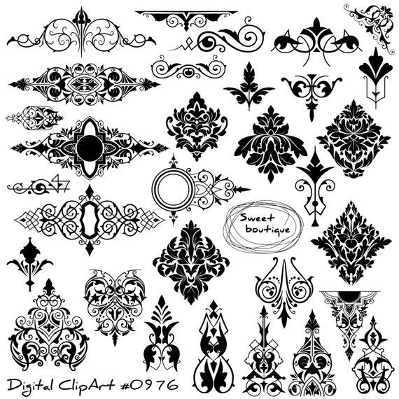 Digital Damask Clipart Digital Borders Damask Element Clip Etsy Clip Art Clip Art Borders Glitter Business Cards