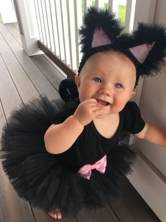 Black Cat Costume with bow Black Tutu Costume Black Kitty Costume Tutu Halloween Costume shirt not included  sc 1 st  Pinterest : infant black cat costume  - Germanpascual.Com