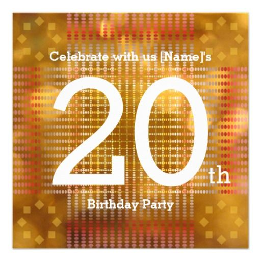 20th Birthday Party - Golden Invitation Personalized Announcement