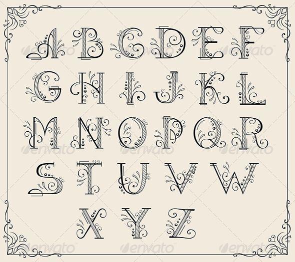 Swirly Alphabet Art Book Border Calligraphic Certificate