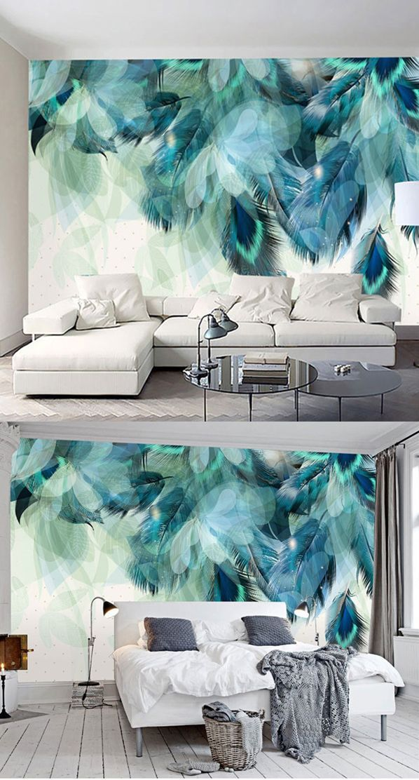 Waterproof Non-woven Fabrics Soft Peacock Feathers Environment Friendly 3D Wall Murals/Wallpaper #wallpaper