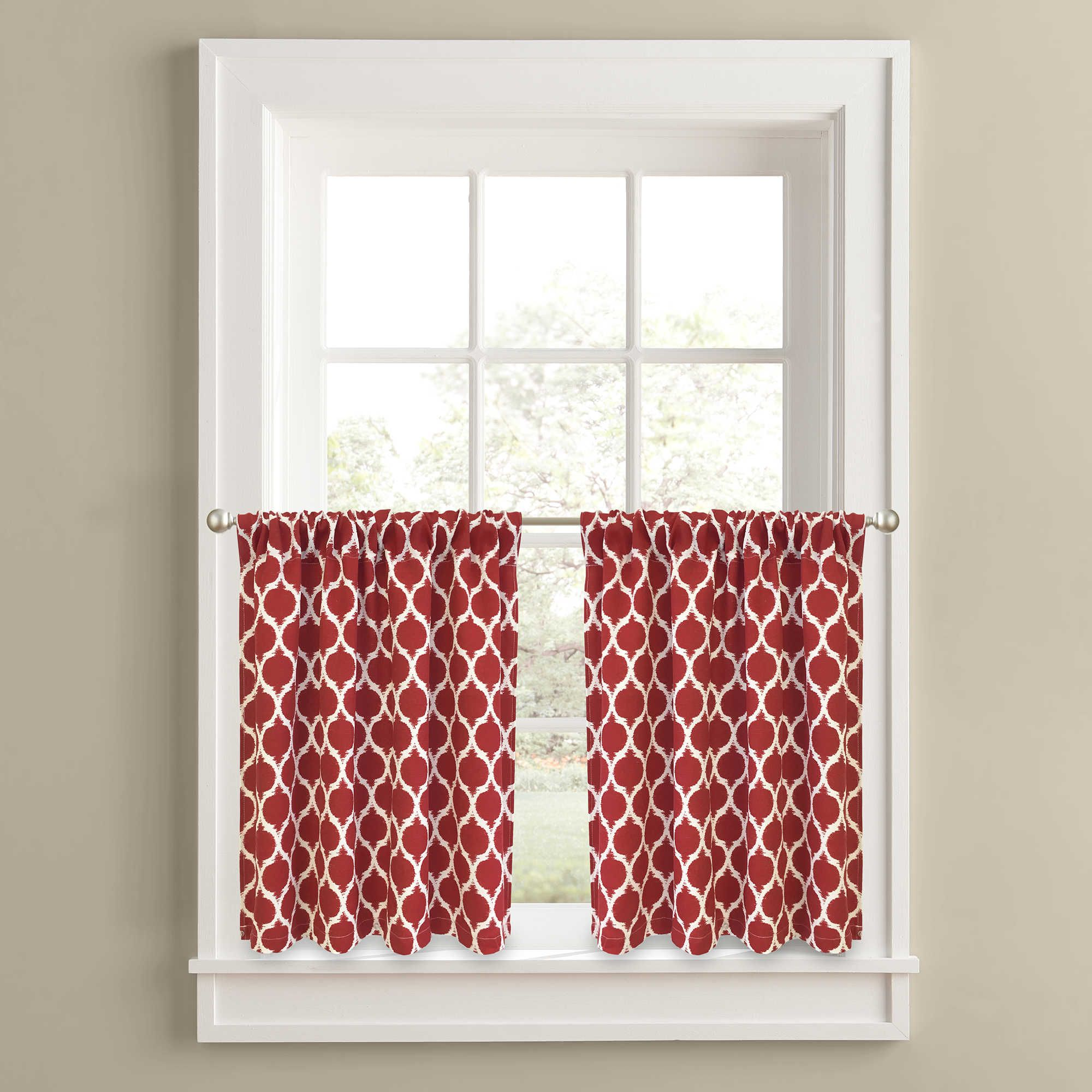 Morocco 36 Inch Window Curtain Tier Panel Pair In Red