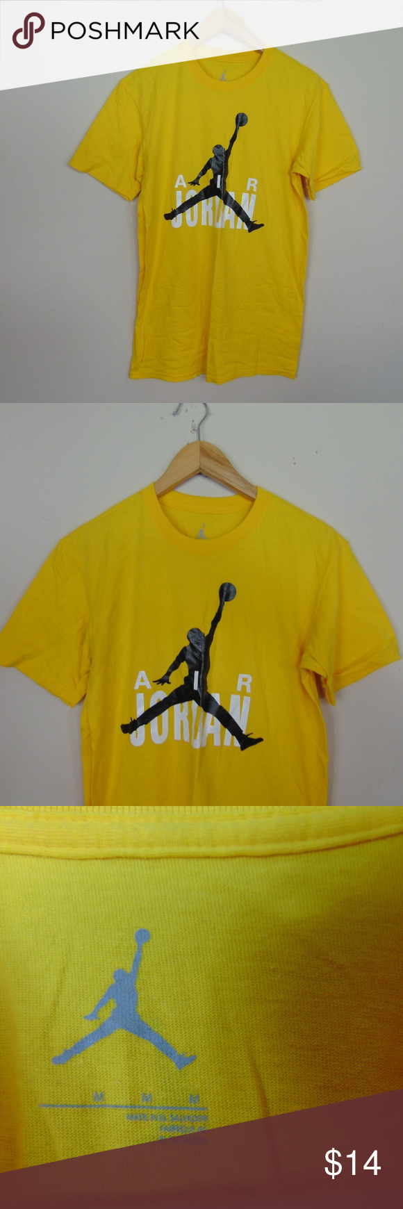 2886576136af26 Jordan Mens M Short Sleeve Graphic T-Shirt Yellow Air Jordan Tee Basketball  Excellent condition