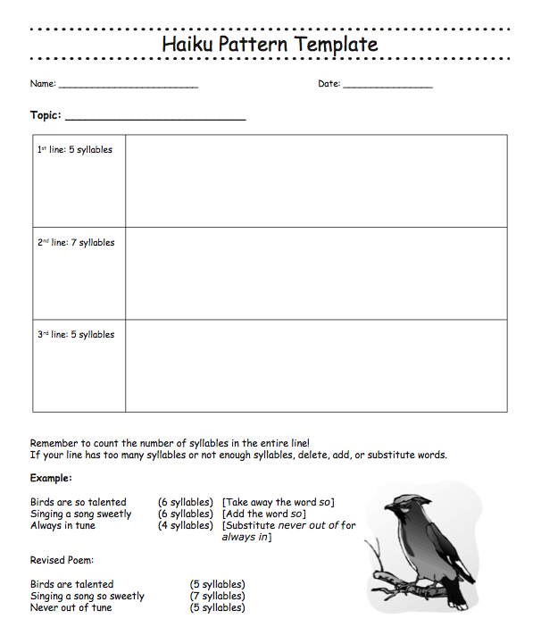 this template gives an outline of writing a haiku poem as well as an
