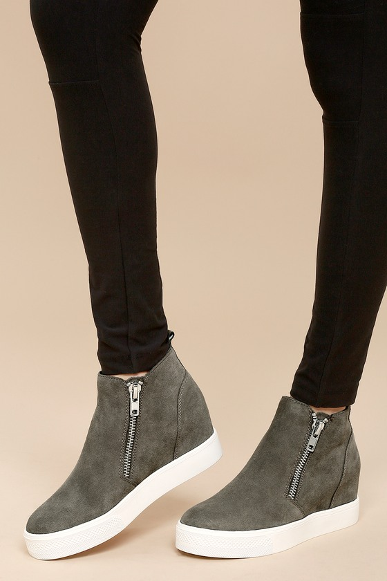 d828036371 Lulus | Wedgie Grey Suede Leather Hidden Wedge Sneakers | Size 10 ...