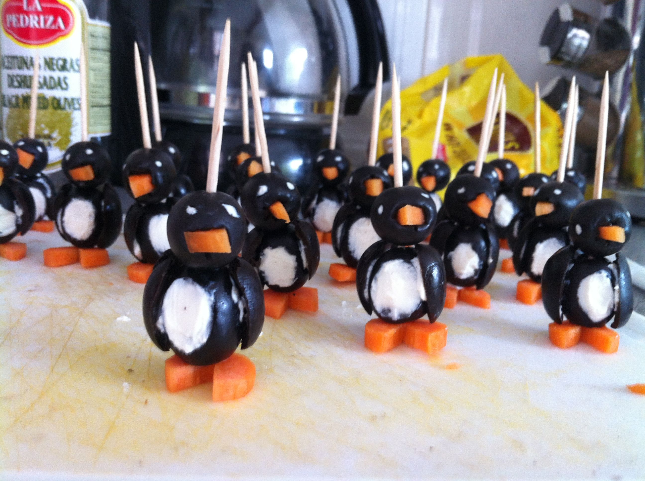 olive, carrot and cream cheese penguins!