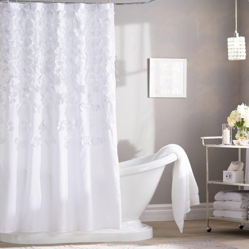 White Falling Petals Shower Curtain White Shower Curtain Shower