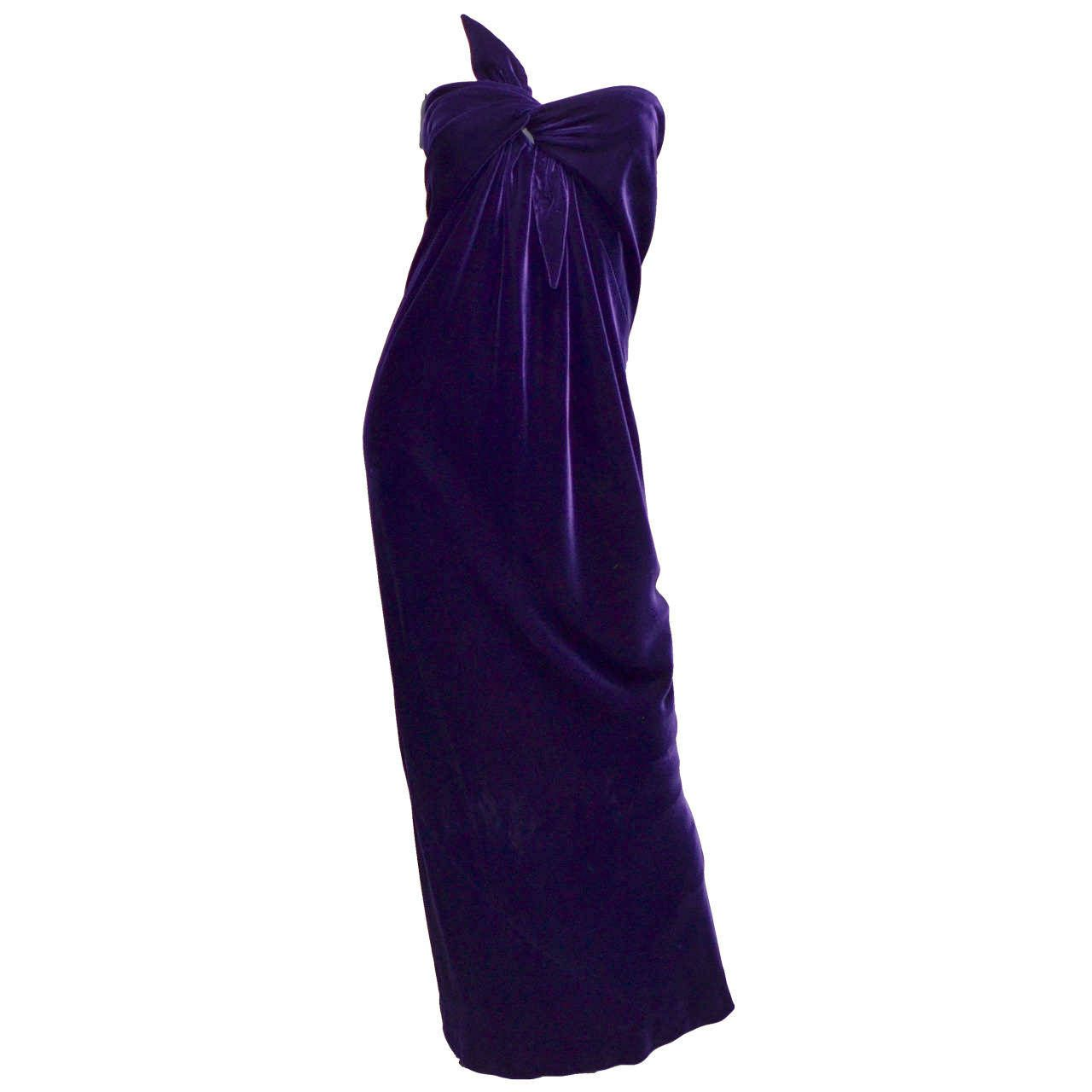 Halston Deep Purple Velvet Strapless Tie Front Bias Cut Column Dress ...
