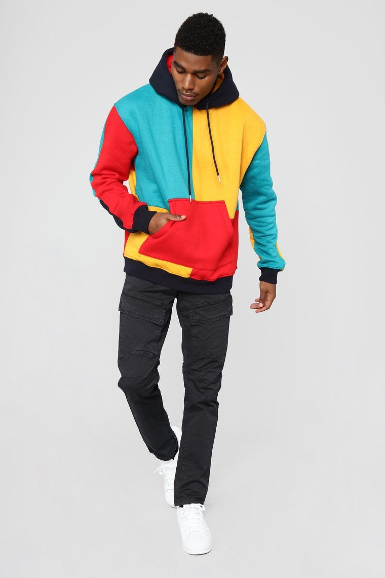 Mens Long Sleeve Loose Casual Hoodies Colour Block Sweatshirt Pullover Tops for Autumn