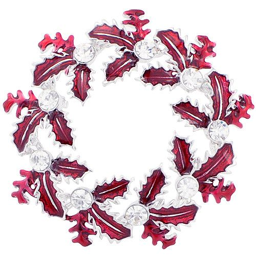Red Enamel Christmas Gift Christmas Wreath Pin Brooch