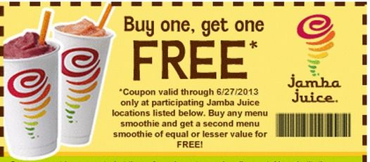 image regarding Jamba Juice Printable Coupon titled Jamba Juice Coupon: Acquire 1 Purchase 1 Cost-free Smoothie Ahh The