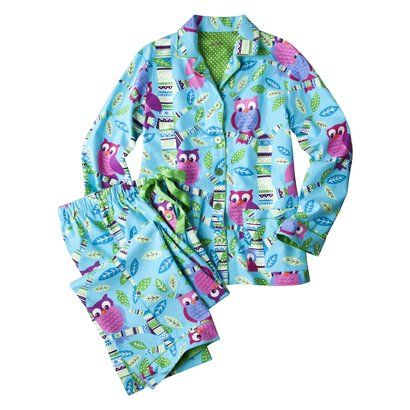 Nick & Nora® Womens Flannel Coat Set Turquoise/Pink Fair