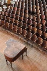 Empty Concert Hall with Piano, High School Auditorium stock photo