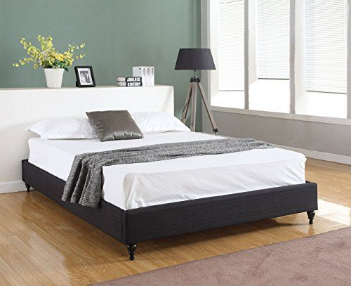 Best Home Life Cloth Linen Chinese Non Headboard Platform Bed 400 x 300