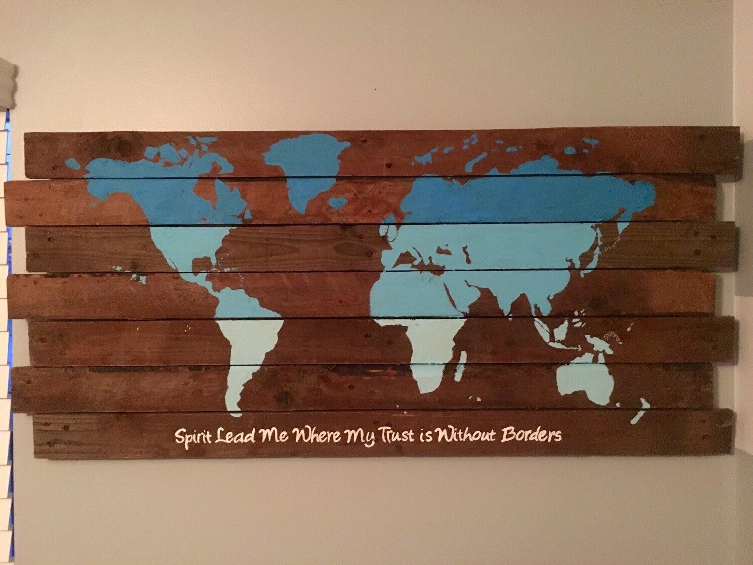 A personal favorite from my etsy shop httpsetsylisting items similar to rustic world map world map wood pallet spirit lead me where my trust is without borders pallet art mission trip map on etsy gumiabroncs Choice Image