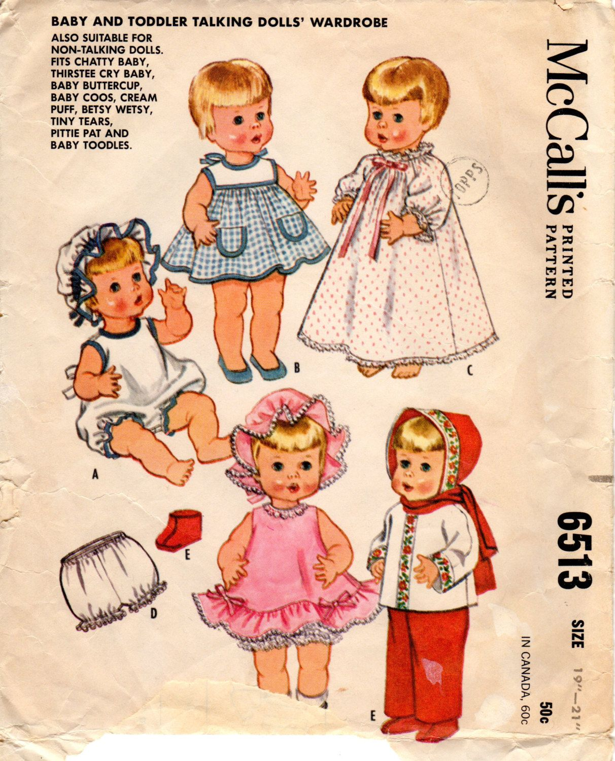 1960s Baby Doll Clothing Pattern Vintage Mccall S 6513