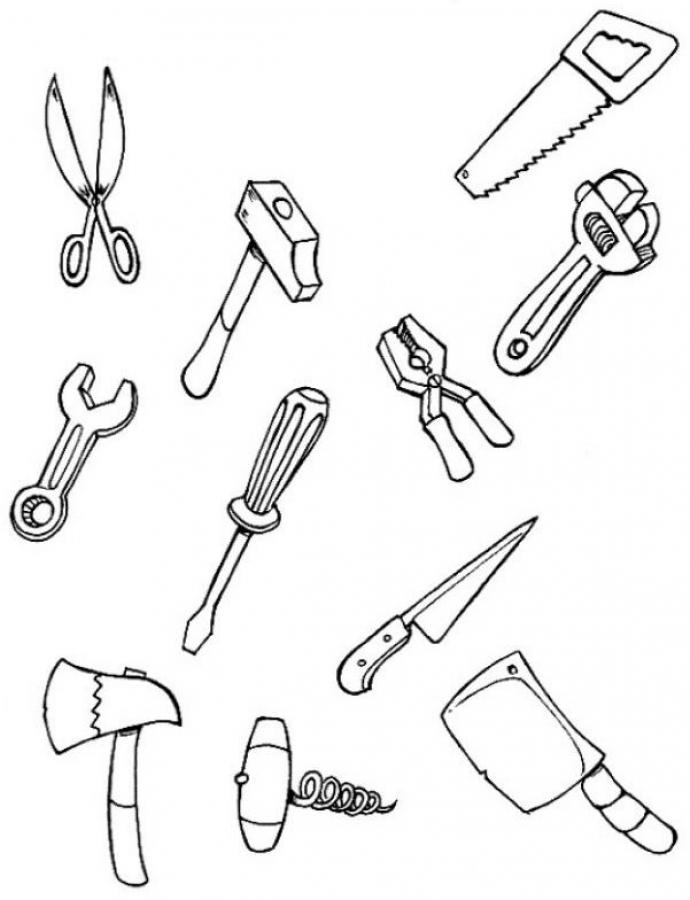 Color each tool coloring page in Carpenter coloring pages