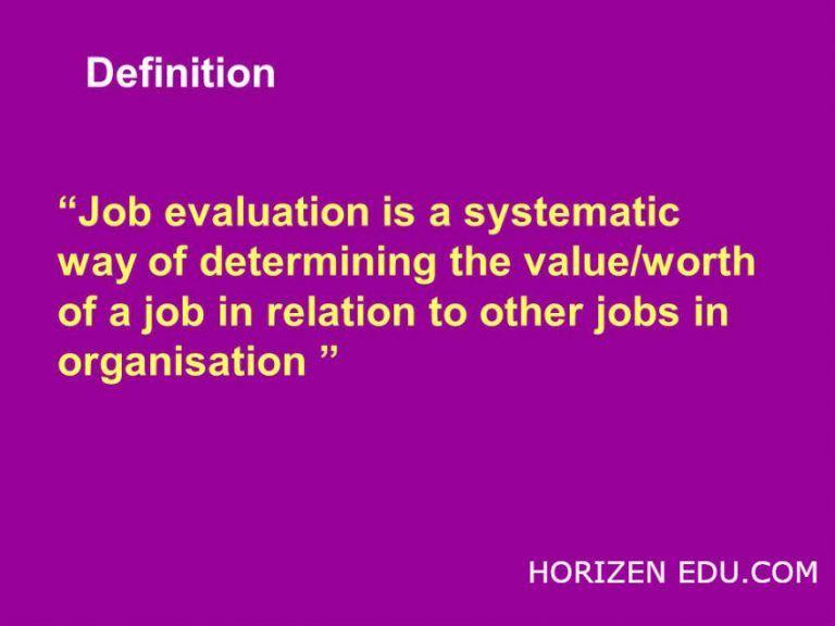Job Evaluation Definition Methods Objective education