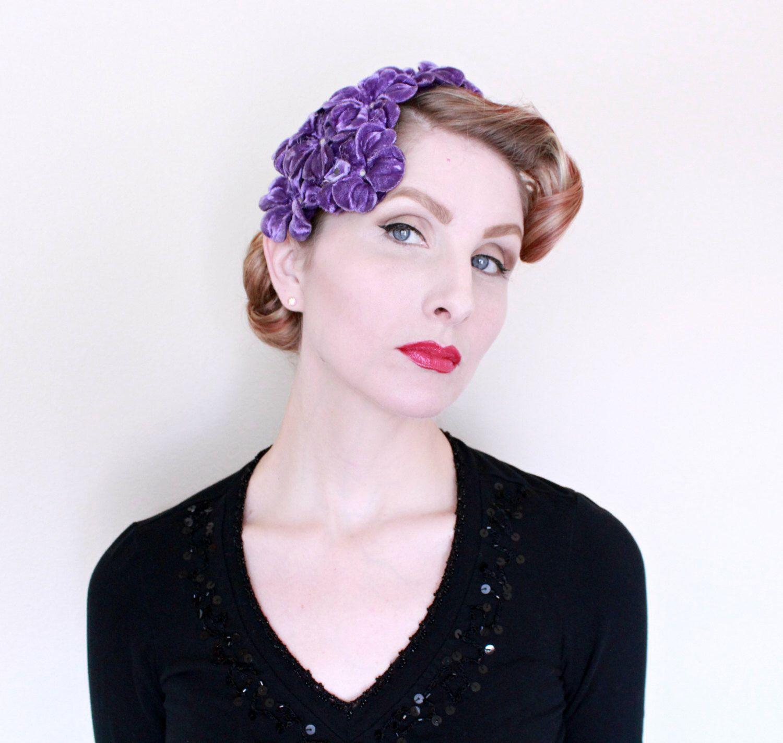 1950s Fascinator Vintage 50s Hat Purple Flowers Velvet Rhinestones