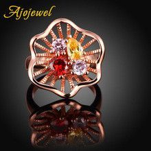 Ajojewel Brand Hollow Out Unique Flower Designer Color Zirconia Stone Golden Finger Ring Female Jewelry Fashion New Year Gift