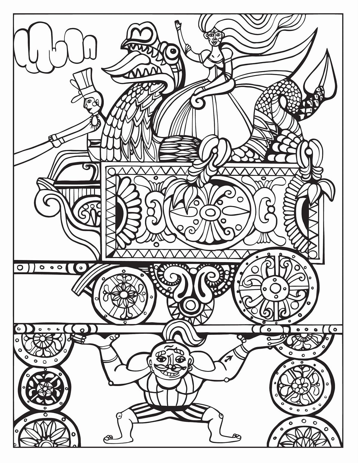 A Day At The Circus Coloring Page On Behance Adult Coloring