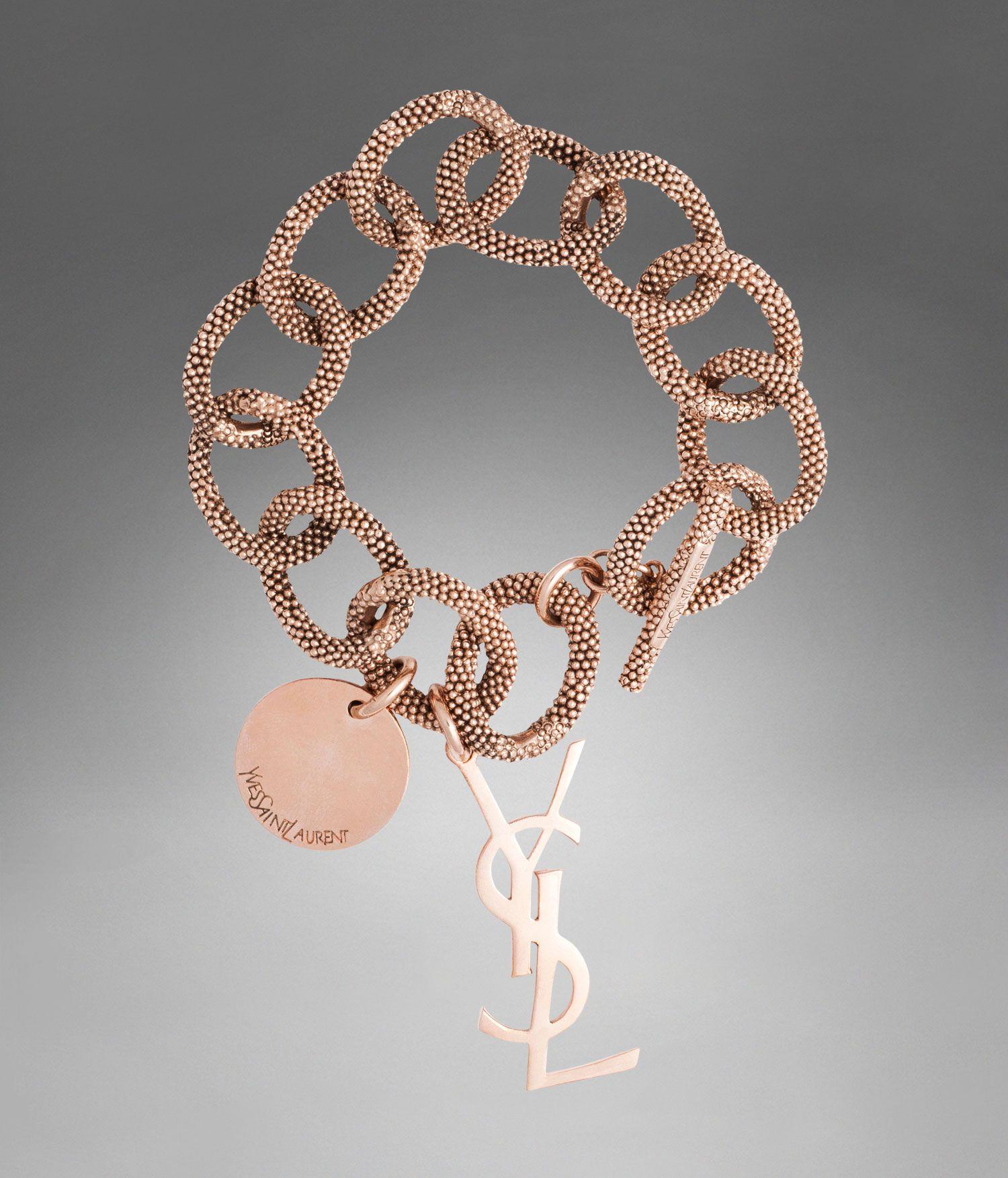 28e20032893 YSL Link Bracelet in Rose-Toned Tin - Cuffs and bracelets – Jewellery –  Women – Yves Saint Laurent – www.ysl.co.uk