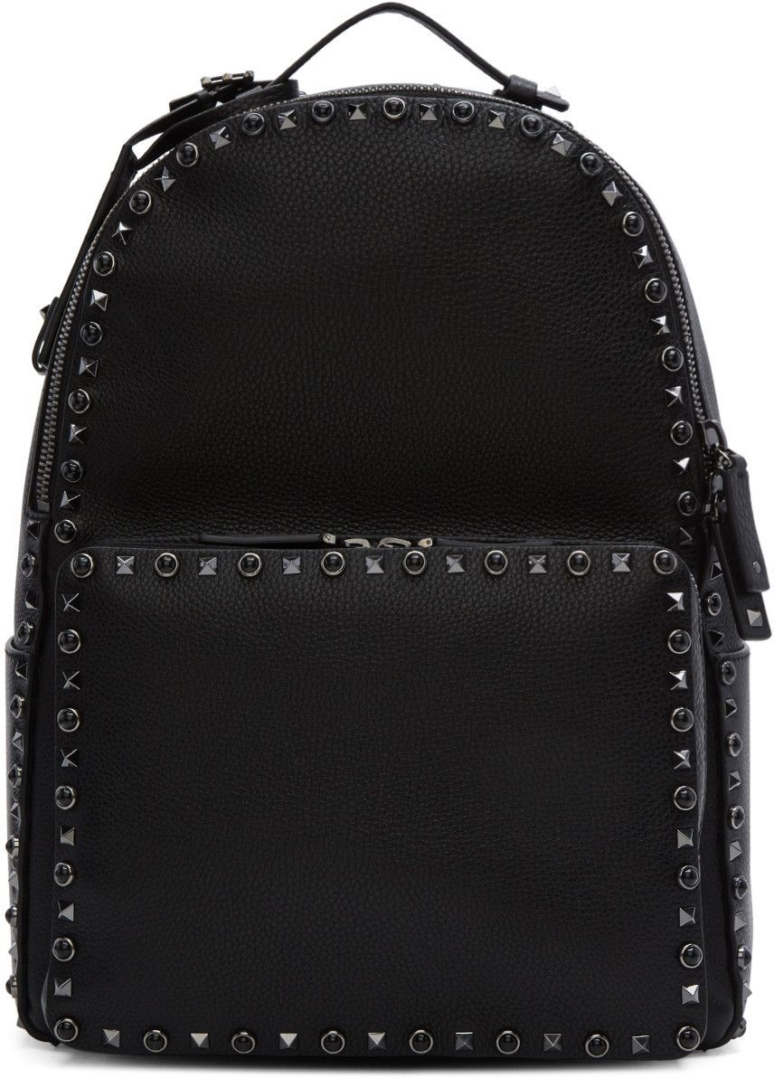 Rockstud Backpack in Black Calfskin Silk Valentino rWxBR