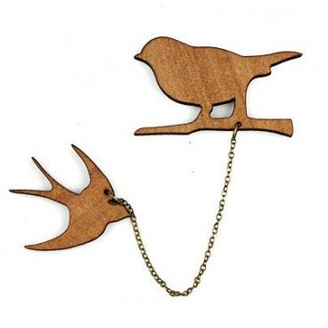 "Kit Broche Bois Naturel ""Oiseaux"" - My Little Bird"