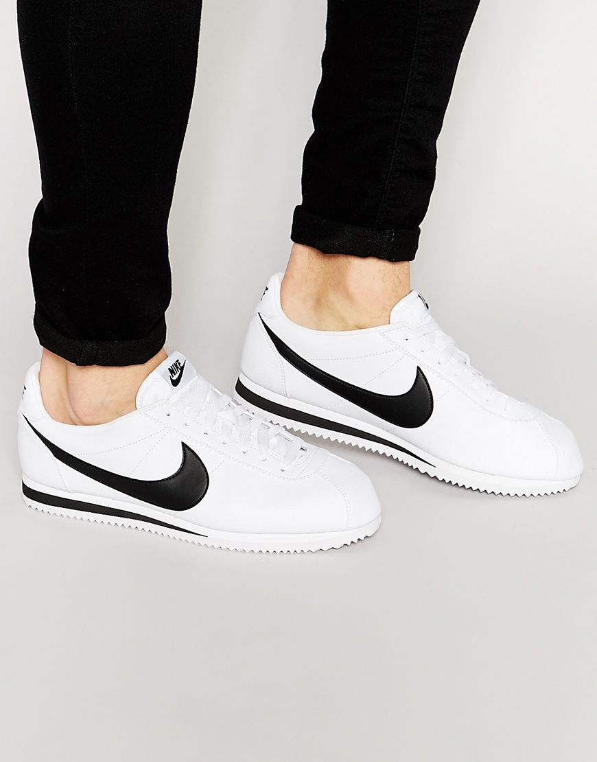 Nike Cortez Leather Trainers In White 749571-100 at asos.com