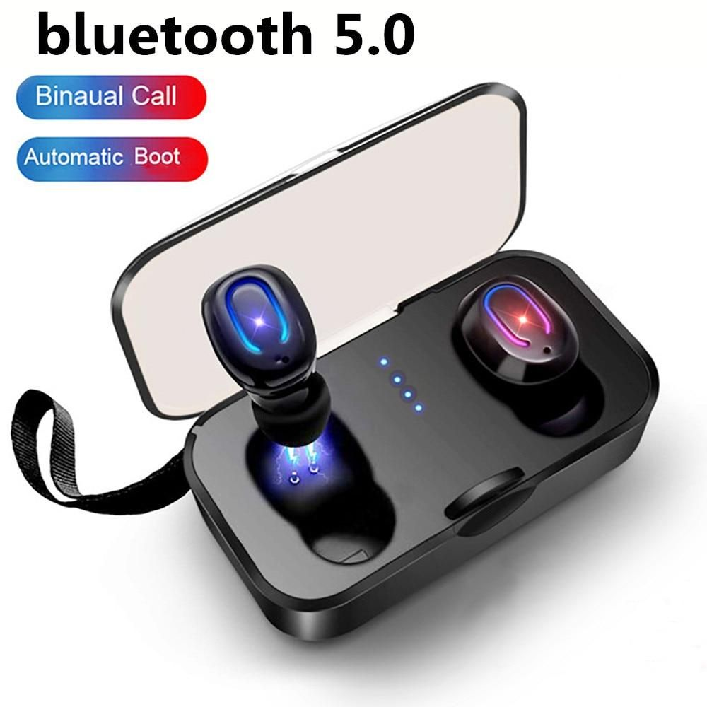 New 2pcs Set Ti8s Tws Bluetooth Earphones Ear Buds Wireless Bt 5 0 Stereo Headset With Mic For Pods F Bluetooth Earphones Earbuds Wireless Headphones