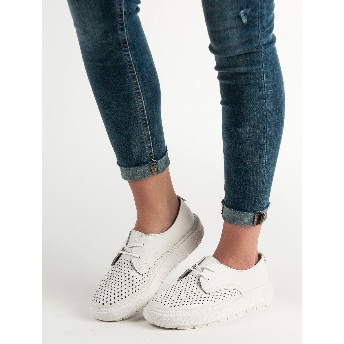 Goodin Lekkie Skorzane Polbuty Biale Women Shoes Shoes Women Heels Shoes