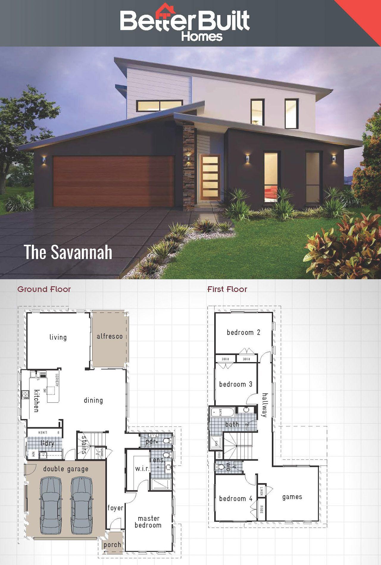 The Savannah Double Storey House Design Betterbuilt Floorplans Beach House Plans Modern House Plans Double Storey House