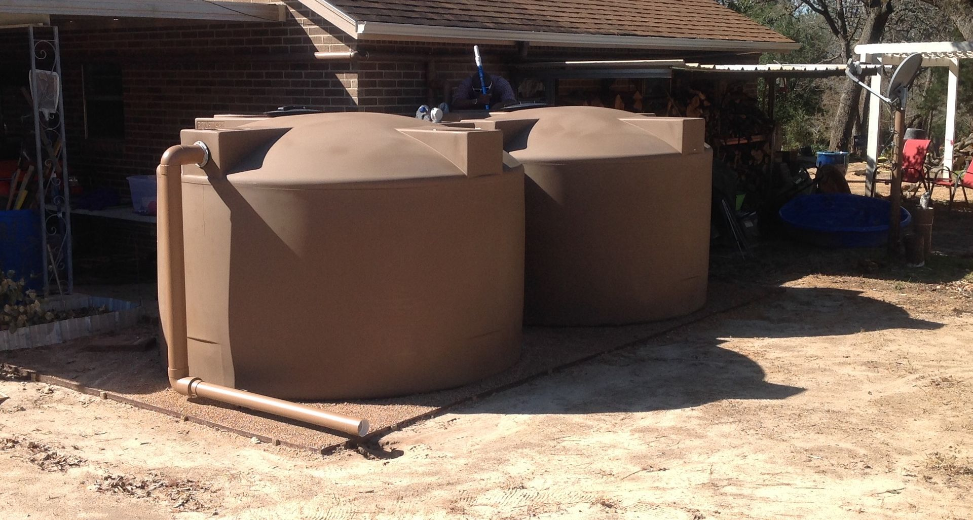 Rainwater tank design ideas get inspired by photos of rainwater -  2 Light Brown 1500 Gallon Poly Mart Rainwater Harvesting Tanks Collecting Off Of