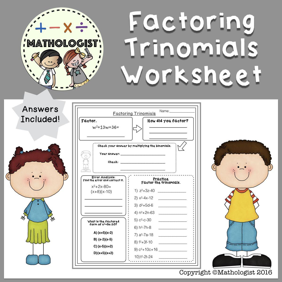 Factoring Trinomials Worksheet Algebra Ax2 Bx C A 1 Students Can