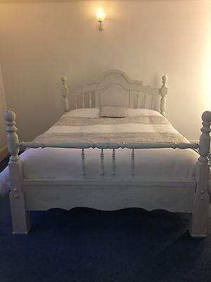 Annie Sloan Chunky Pine Wooden King Size Bed Frame Vintage Antique Old White 399 Wooden King Size Bed King Size Bed Frame Pine Bed Frame