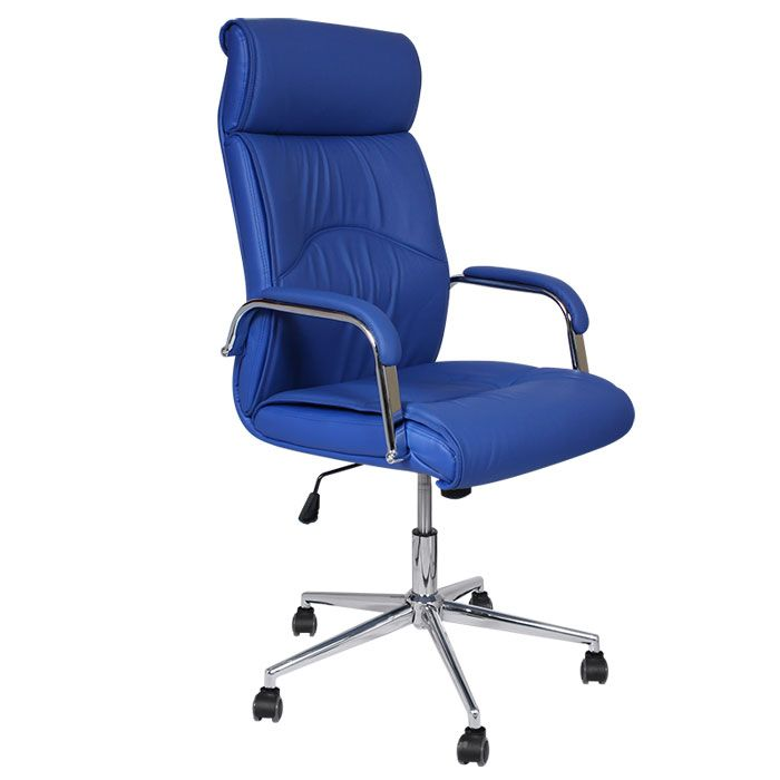 Blue Leather Office Chair Weird Kneeling