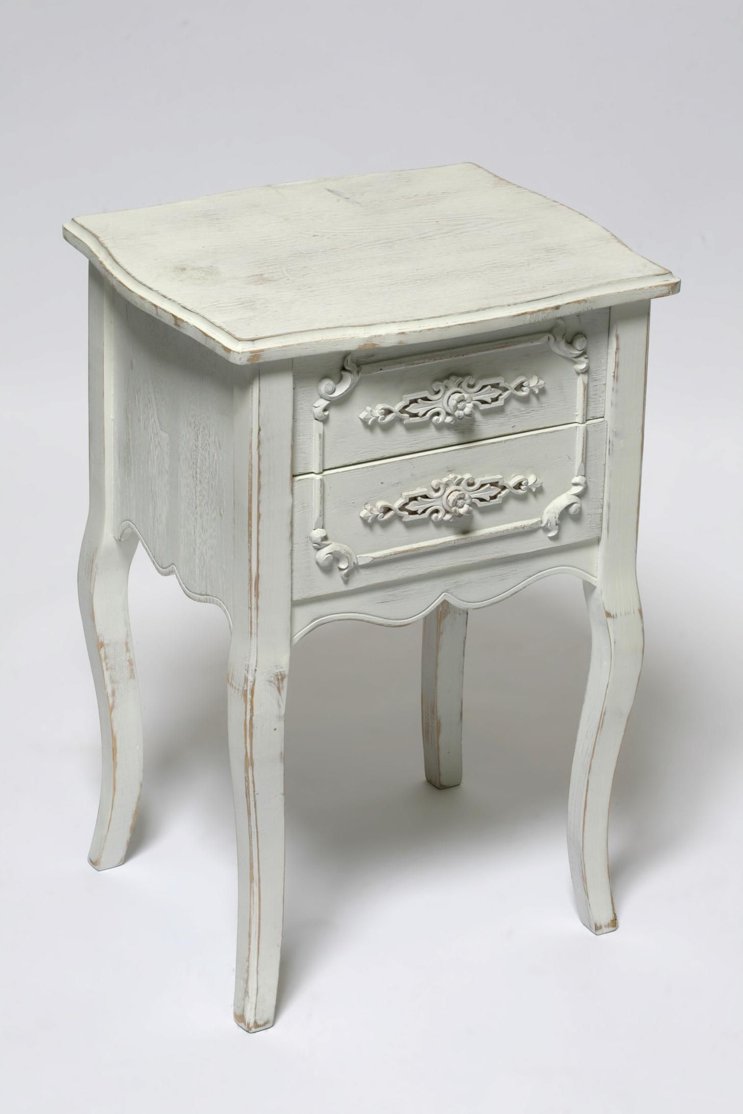 Fine Looking Double Drawers Antique White Bedside Table With Oak Wood