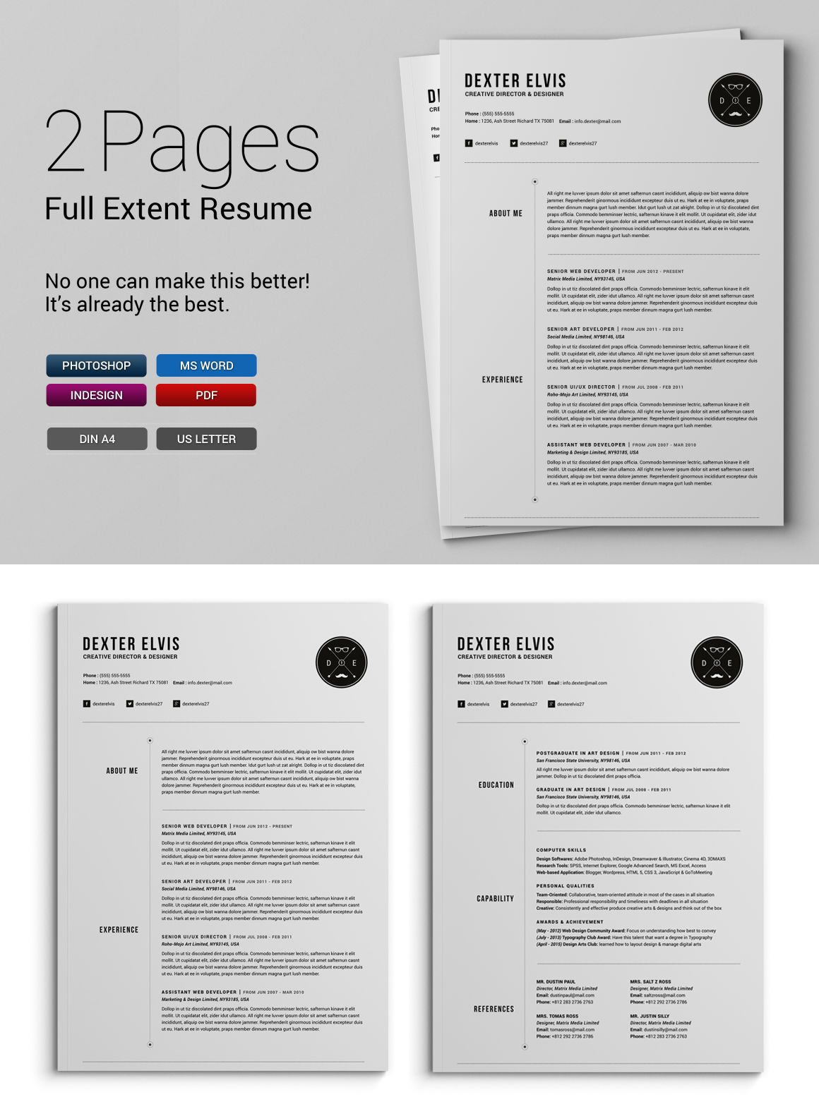 2 Pages Full Extent Resume Cv Template Indd Psd