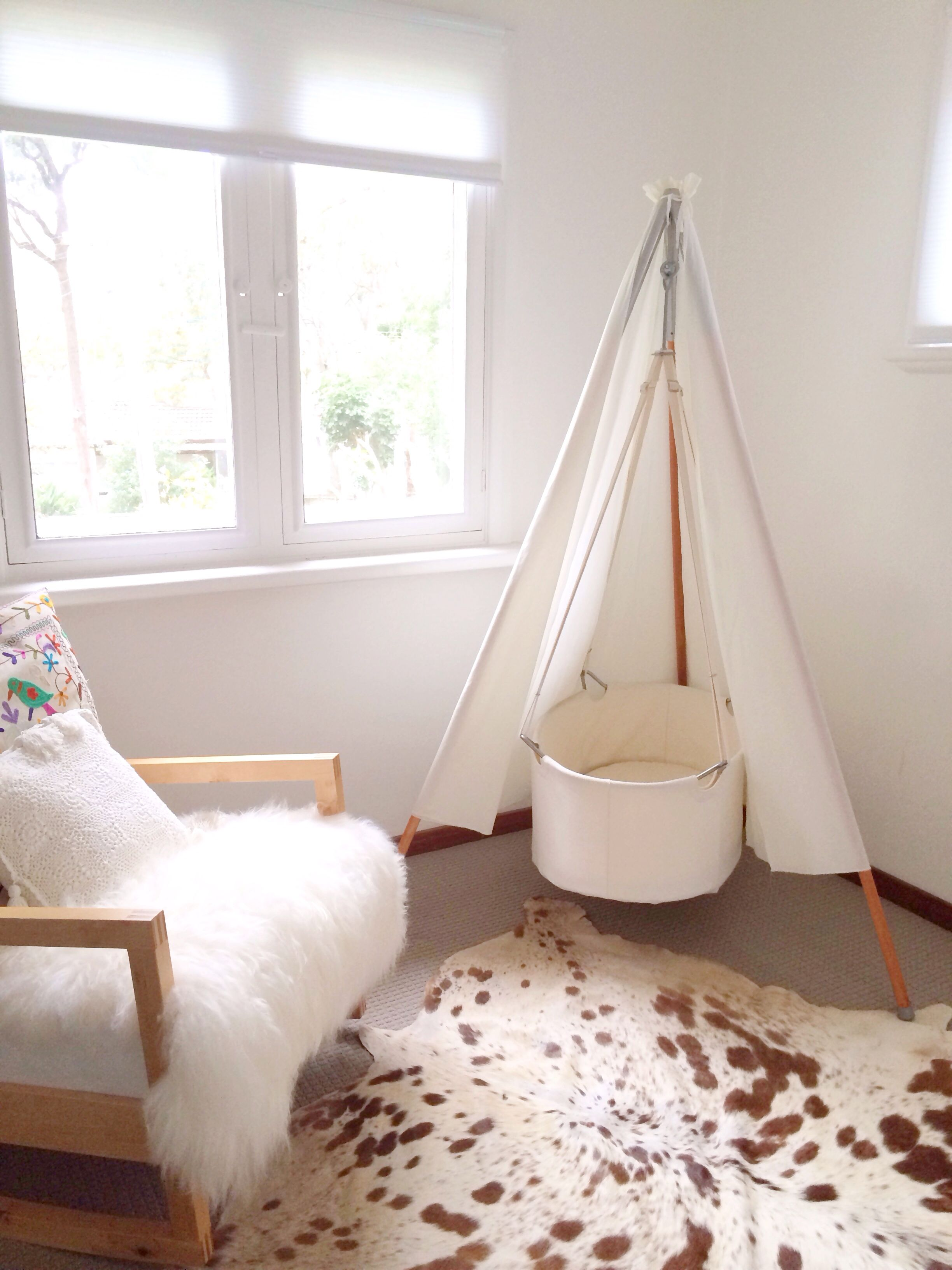 Leander Teepee Bassinet. Cow Hide Rug. Icelandic Sheepskin. Embroidered  Cushion.