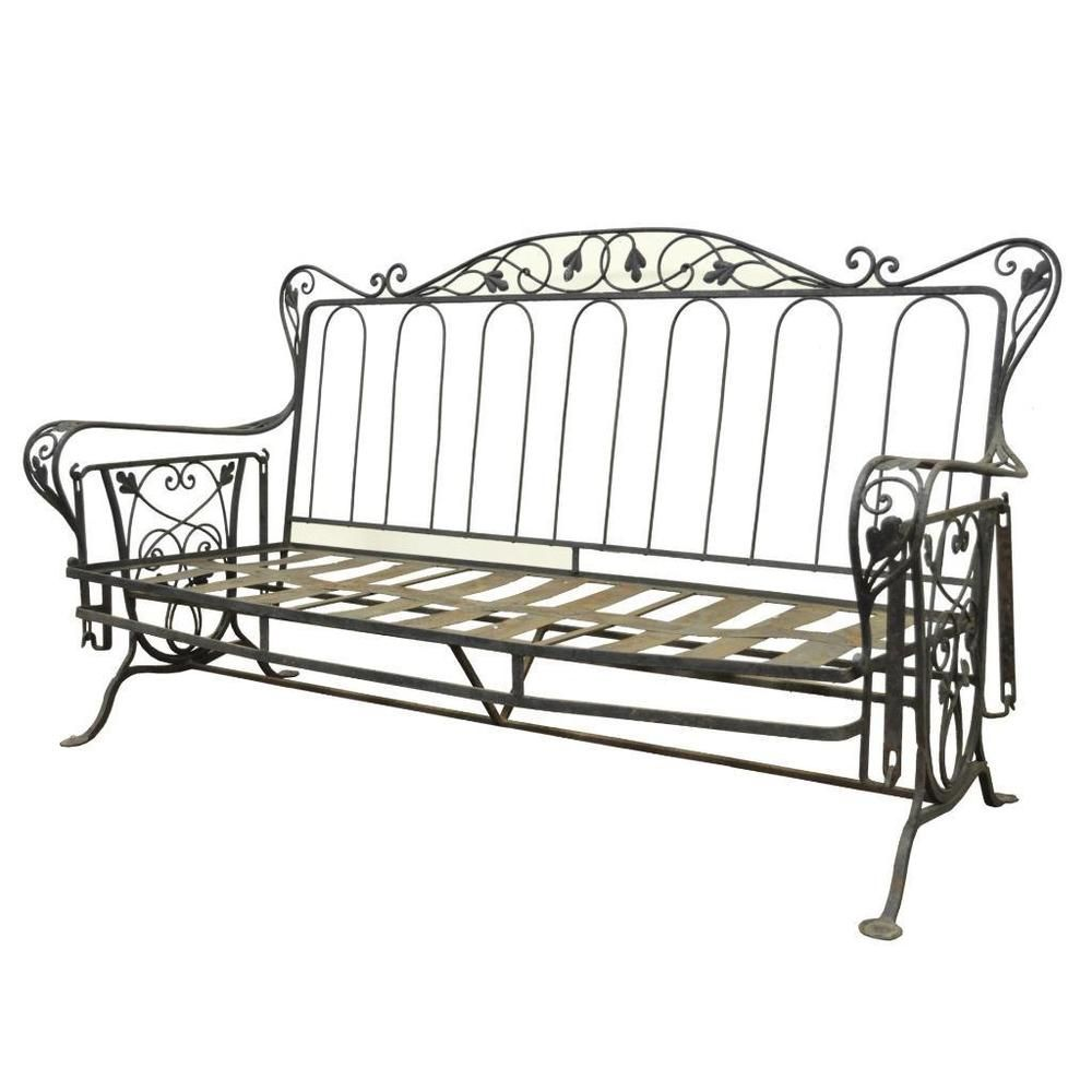 Vintage wrought iron outdoor patio glider swing sofa for Wrought iron furniture