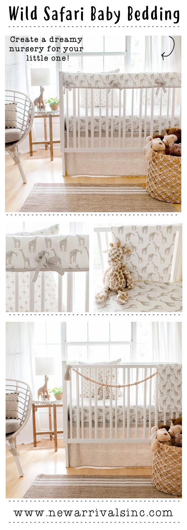 Wild Safari Baby Bedding Featuring A Whimsical Giraffe Pattern In Neutral Colors From New Arrivals I Safari Nursery Bedding Giraffe Nursery Bedding Baby Bed