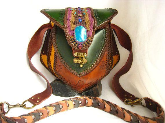 Festival Chrysocolla Belt Bag Boho Hippie Gypsi Makramee Leather