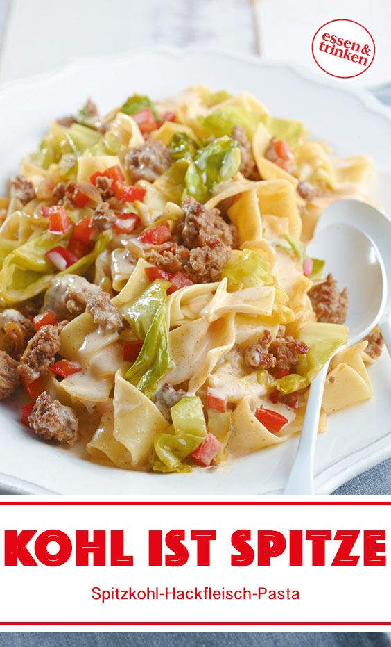 Rezept für Spitzkohl-Hackfleisch-Pasta
