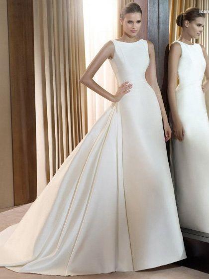 A-Line High Necck Strapless Natural Waist Satin plain wedding dress ...