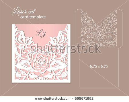 Laser cut invitation card template Wedding invitation template