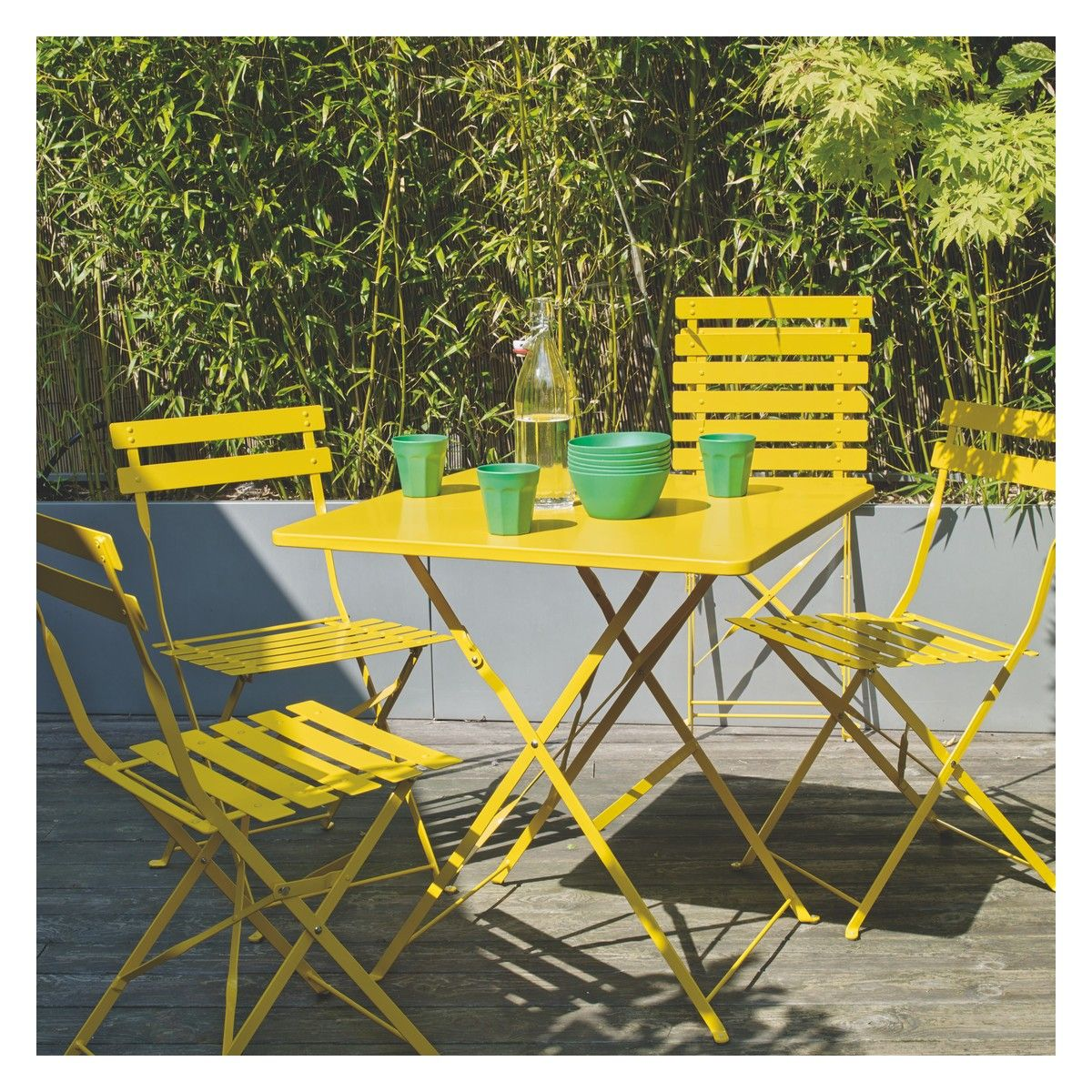 PARC 11 seat yellow metal folding garden table and chairs set  Buy