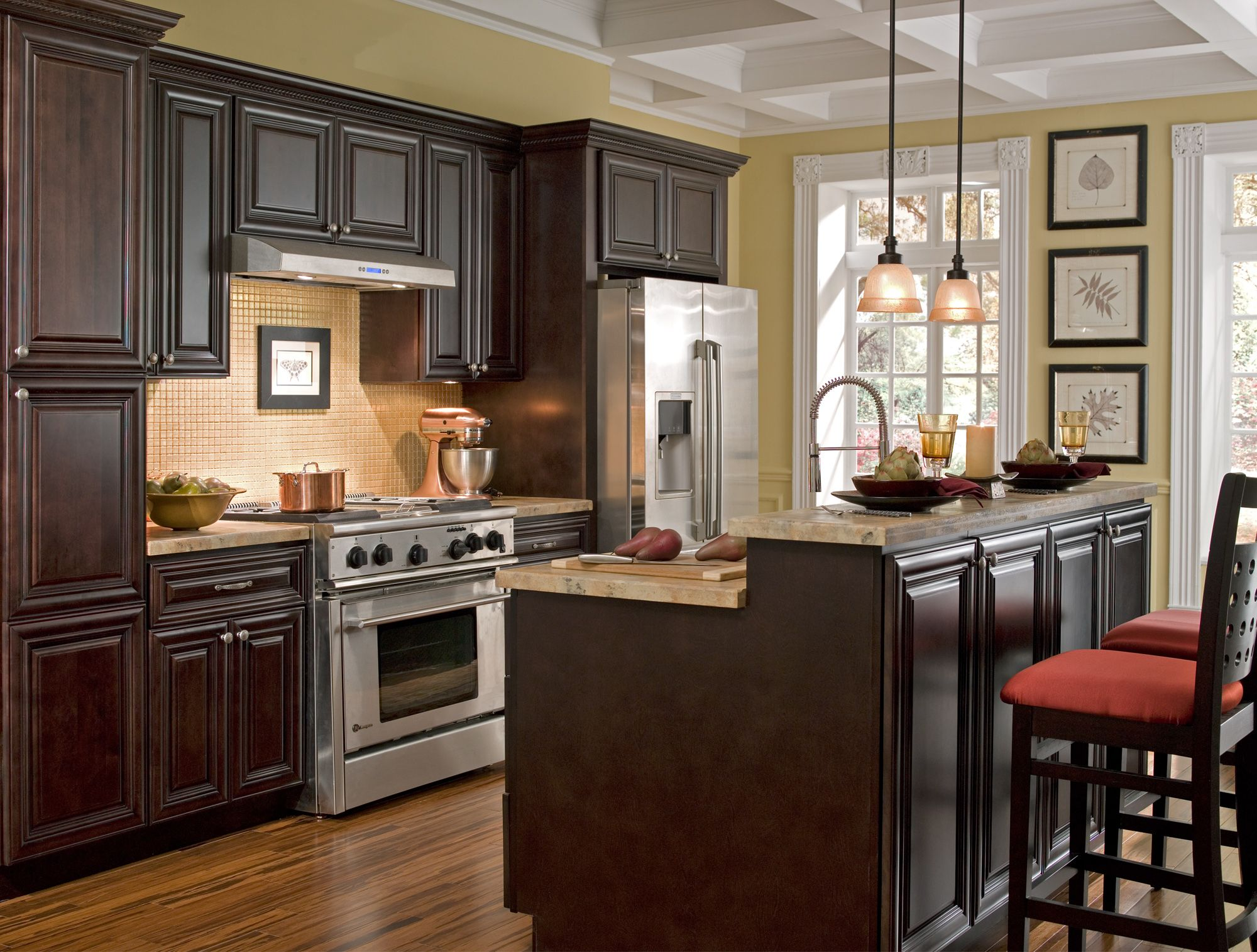 Findley & Myers Palm Beach Dark Chocolate Kitchen features solid
