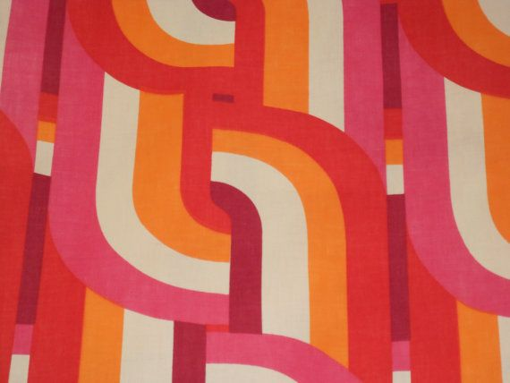 Vintage Fabric circa 70's screenprinted orange pink by DIMbyMAR