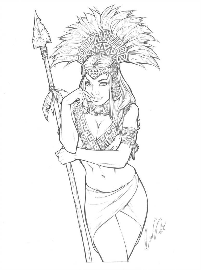 Aztec Princess By Elias Chatzoudis Aztec Aztec Princess By Elias Chatzoudis Aztec Drawing Princess Drawings Aztec Art