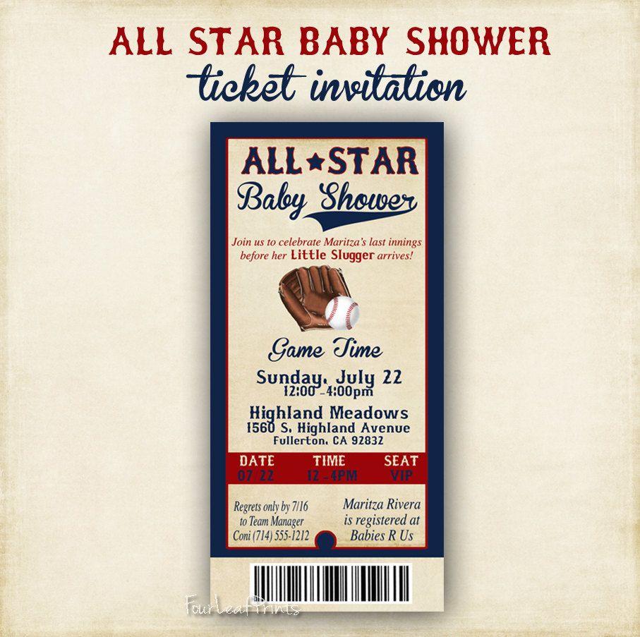 ALL STAR Baby Shower 4x8 Ticket Invitation for school shower ...